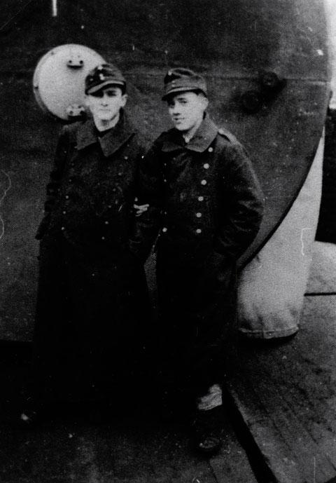 Ossi Gerlach und Ludwig Wiener (später Chefredakteur des Schweinfurter Tagblatt am FuMG - 4.schwere Flakabteilung 639