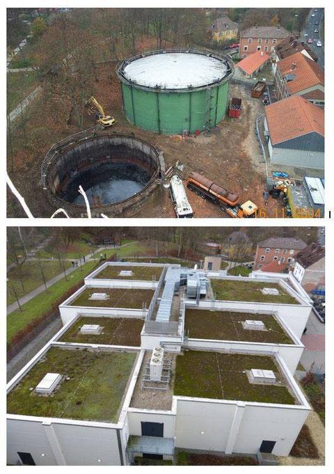 oben: Die alten Gaskessel werden abgebaut - unten: Filmwelt wurde an der gleichen Stelle errichtet - Danke an Thomas Bauer