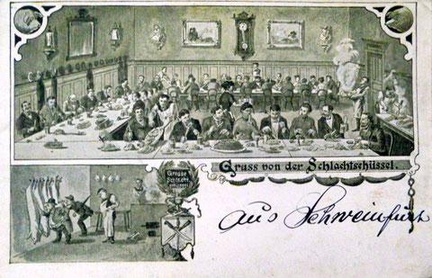 Schweinfurter Schlachtschüsselkarte - gelaufen 1924
