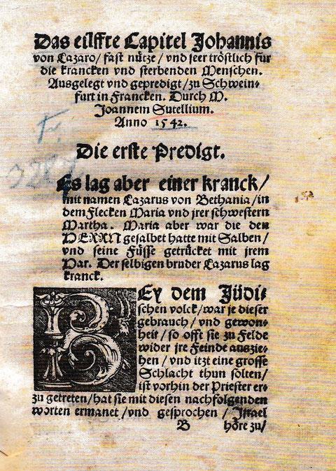 """Exemplar der Reichsstädt. Bibliothek der """"Historia von Lazaro"""" des Sutellius 1543 Stadtarchiv"""