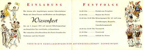 Einladung zum SKF Wiesenfest 1951. Vorder- und Rückseite. © SKF Group