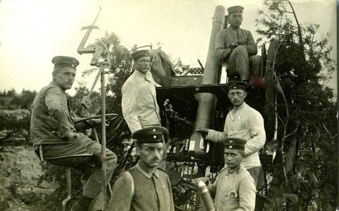 Große Flugabwehrkanone mit Bedienmannschaft Russland ca. 1917 Bat. Schweinfurt