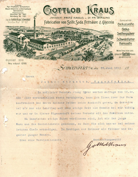Personalschreiben vom 29.06.1911 - Da hat sich wohl jemand erkundigen wollen, bevor er eine Einstellung vornimmt...