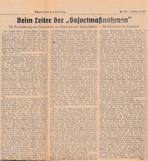 """Aus """"Schweinfurter Zeitung"""", Amtliches Organ der NSDAP und sämtlicher Staats- und Gemeindebehörden,  vom 27. Oktober 1943"""