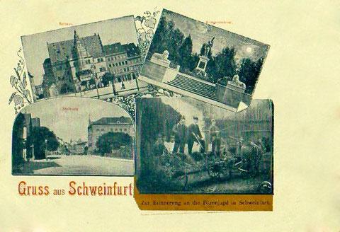 1899 - Grußkarte von einer Schweinfurter Bärenjagd!