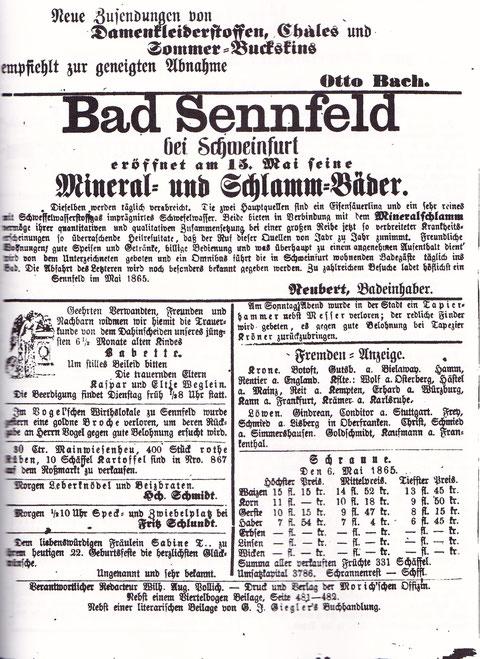 """Seite aus dem Schweinfurter Tagblatt vom 8. Mai 1865 mit Annonce """"Bad Sennfeld"""""""