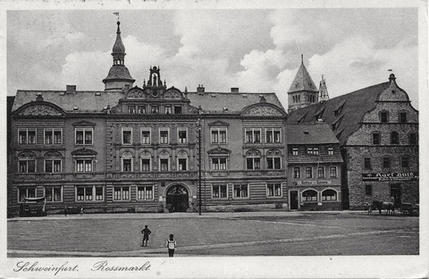 Ende der 1930er - rechts neben dem Gasthaus Schranne Karl Hülß Baumaterialen Landesprodukte und Düngemittel - bitte vergrößern!