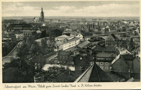 Blick von der Heilig-Geist-Kirche über den Jägersbrunnen auf Sachs-Bad und Kilianskriche in den 1930ern (ca. 1935)