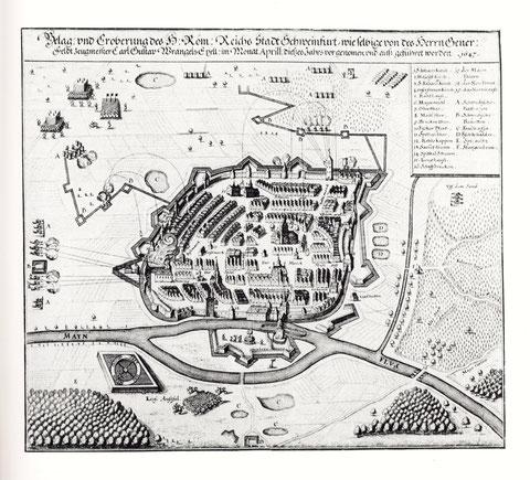 """Blagerung und Eroberung der freien Reichsstadt Schweinfurt d. schwed. Truppen des Generals Carl Gustav v. Wrangl; zu sehen auch den """"Ausfall"""" der kaiserlichen Truppen (Reiterei), der ohne Erfolg war."""