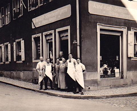 Die Metzgerei Ecke Zehntstraße/Lange Zehntstraße. Heute befindet sich dort die Rückert-Apotheke