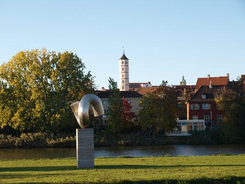 """Blick vom Süden auf Maininsel mit """"Anker"""" und Schrotturm"""