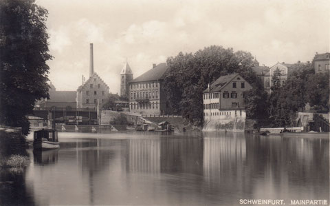 Blick auf Schweinfurt mit Bastei, Harmoniegebäude und Maxbrücke