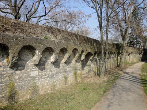 Die Stadtmauer im weiteren südlichen Verlauf Richtung Kunsthalle verfügt noch über dem kompletten Wall, der auch begehbar ist - 2012