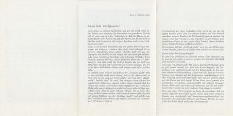 """1962: Adventsschreiben, Beilage zur Lohntüte (Bild 2c, 2d Sammlung Gerhard Fiedler) 1963: Lohntüte """"Erholungsheim der Schäfer-Werke """"Riederalp"""" bei Immenstadt – Allgäu""""  (Bild 3a, 3b Sammlung Gerhard Fiedler) 1963: Adventsschreiben, Beilage zur Lohntüte"""