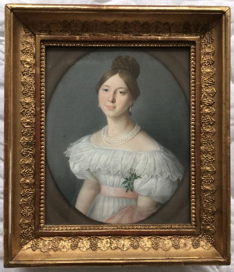 Gemälde von Tochter Sophia Louise Sattler (Eck) im Brautkleid aus dem Jahre 1834 (Alter von 18 Jahren) - Danke an Herrn Bernd Strathausen