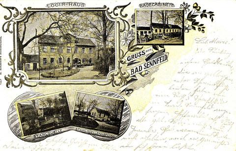 Bad Sennfeld um 1900. Der Bade- und Kurbetrieb begann 1843 im ersten Badehaus (oben rechts). Sturzbäder wurden in einem provisorisch errichteten Zelt genommen. 1852 wurde die Sturzbadhalle gebaut (unten rechts)