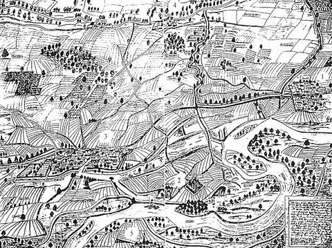 Darstellung der Region um Oberndorf (Reinfeld) aus dem Jahre 1580 1=Oberndorf, 2=Bartholomäuskirche, 3=Bergrheinfeld, 4=Rothmühle, 5=Grafenrheinfeld  ....   Vergrößerbar!!