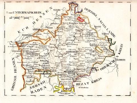 Karte vom Untermainkreis - frühes 19. Jahrhundert