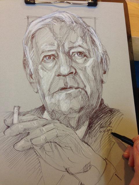 """""""Helmut Schmidt"""" Kugelschreiber und Kreide auf Papier, 30 x 21 cm, Ronni Zettner 2015"""
