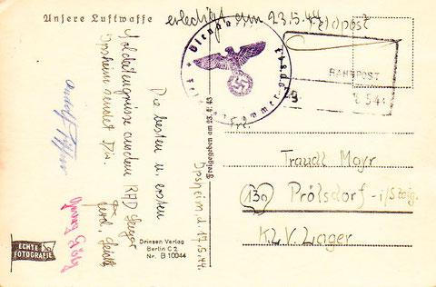 Fliegerkarte ins KLV Prölsdorf, wo sich die Schweinfurter Mädchen-Oberrealschülerin Traudl Mayr befand - 23.5.1944