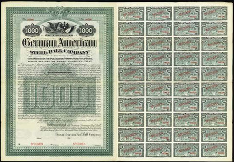 1904. Specimen bond. $1000. 1st Mortgage 6% Gold Bond. Vignette of German flag and arms and American eagle and flag. Coupons attached. Red specimen overprint and POC. ABNC.