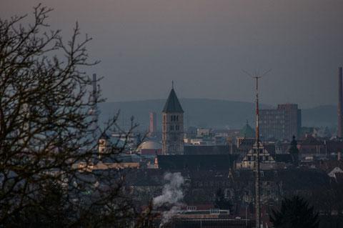 Blick auf Schweinfurt vom Osten (früher hieß das: von der Morgenseite)
