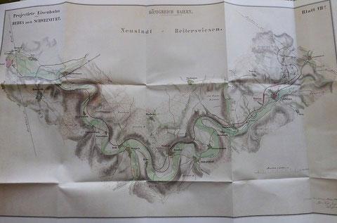 Eisenbahnkarte 1856 von Schweinfurt nach Bebra
