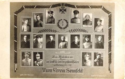 Die im 1. Weltkrieg gefallenen Mitglieder des Turnvereins Sennfeld.
