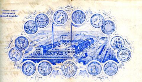 aus Rechnungsbogen ca. 1873 - Ultramrinwerk Schweinfurt-Oberndorf (zuvor Heidelberger Ultramarinwerk)