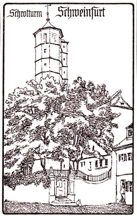 Der Schrotturm auf alter Zeichnung