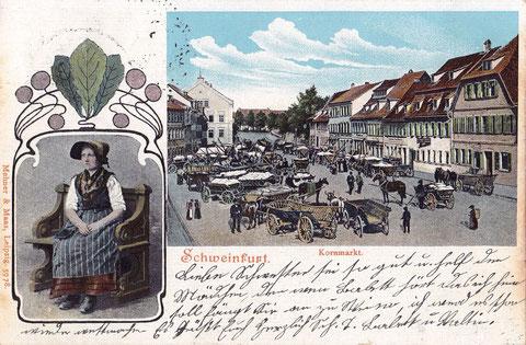 Kornmarkt auf einer Postkarte von 1904