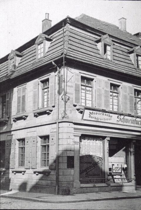 Einst Sitz des Schweinfurter Tagblatts - die Morich'sche Druckerei - Jahr unbekannt - Brückenstraße 18 - Bild darunter aus Adressbuch 1908