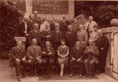 Studiengenossenfest am 13. - 15. Juli 1926 in Schweinfurt; hier: im Saalbau Mayer (heutiger Platz des Stadttheaters)