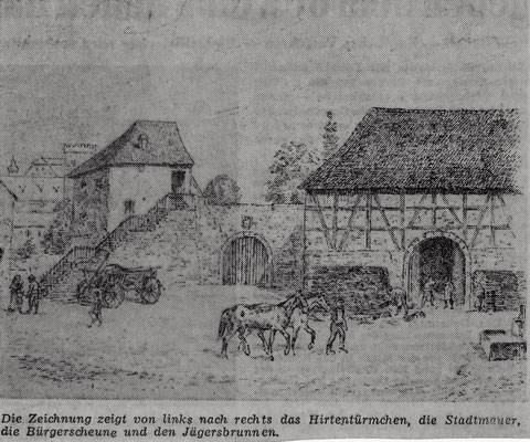 Aus Schweinfurter Tagblatt; Zeichnung mit Hirtentürmchen