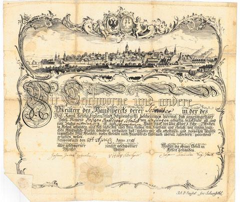Gesellenbrief mit Stadtansicht von Stoeßel aus dem Jahr 1781 - vergrößern! Eine tolle Ansicht!