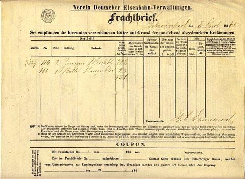 Frachtbrief von 1861 des Vereins der Deutschen Eisenbahnverwaltungen