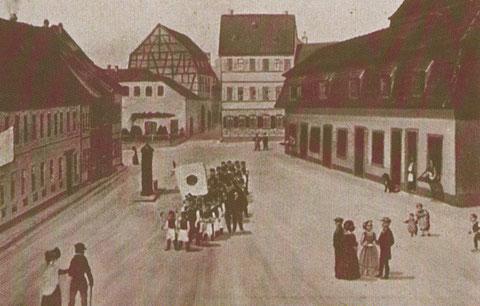 Fleischbank am heutigen Georg-Wichtermann-Platz, erbaut 1804, abgerissen 1889