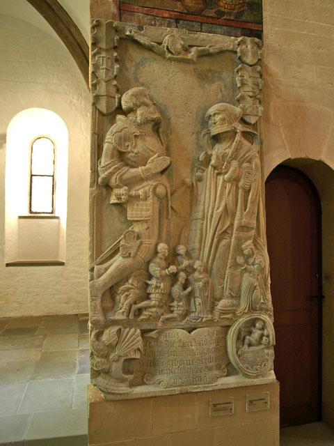 Grabplatte Margaretha v. Wenckheim heute in der St. Johanniskirche