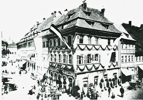 Geburtshaus Friedrich Rückerts am Markt - Feier anläßlich des 100. Geburtstags Friedrich Rückerts am 16. Mai 1888 - Danke an Michael Kupfer