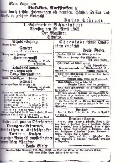"""Seite aus Schweinfurter Tagblatt vom Samstag, 15. April 1865 mit Anzeige der """"Schads-Schanze"""""""