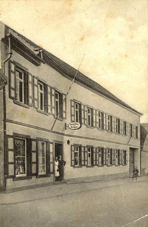 Saalbau Kritzner um 1933. Ehemals Gasthaus zum Wilden Mann. Heute Metzgerei Kritzner