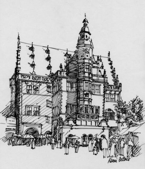 """""""Rathaus Schweinfurt"""" Fineliner auf Papier, 30 x 21 cm, Ronni Zettner 2009, Besitz Museum Otto Schäfer"""