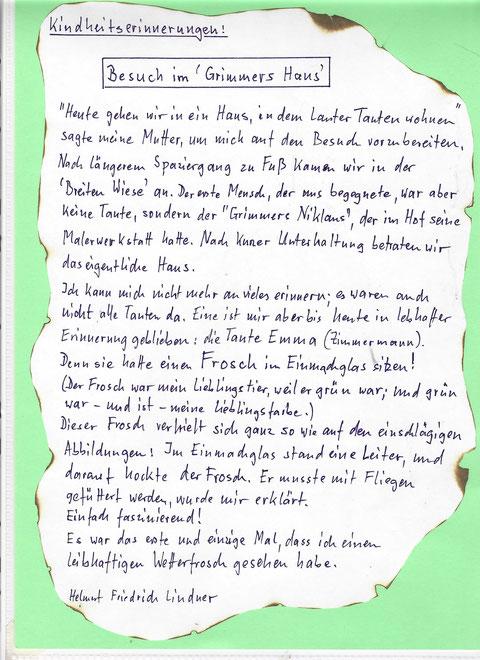 Kindheitserinnerungen zur Breiten Wiese 4 aus den 1950ern von Helmut Lindner