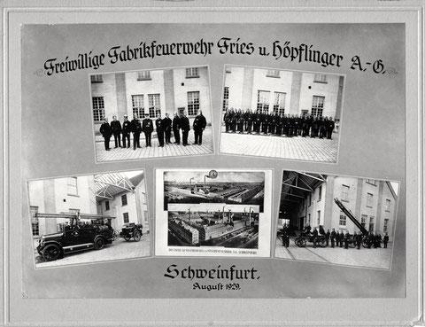 Freiwillige Feuerwehr der Firma Fries & Höpflinger im Jahr 1929