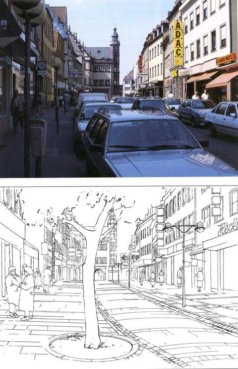 Die Rückertstraße - mit Umgestaltungsentwurf