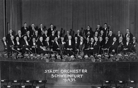 das Schweinfurter Stadtorchester im Jahre 1931