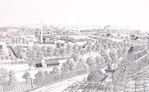 Radierung von 1840 vom Marienbachtal - Blick vom Oberen Wall (v. Johann Conrad Ochlich) Die hier auch zu sehende Zuckerfabrik wurde 1836 gegründet; ganz links ein Teil der Villa Endres