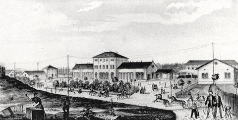 Darstellung des Stadtbahnhofes - wohl aus dem Jahr 1854, als die Strecke Schweinfurt nach Würzburg eröffnet wurde