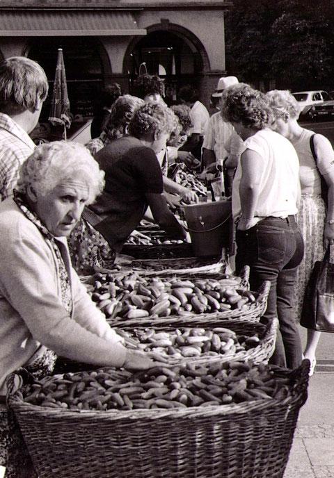 Röthleiner Gurkenverkauf auf dem Würzburger Markt