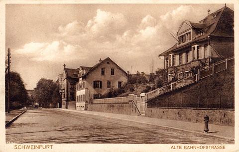 Alte Bahnhofstraße Schweinfurt - rechts Wirsing-Villa (heute Arbeitsgericht)